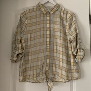 Plaid Shirt With Knot Tie NWT